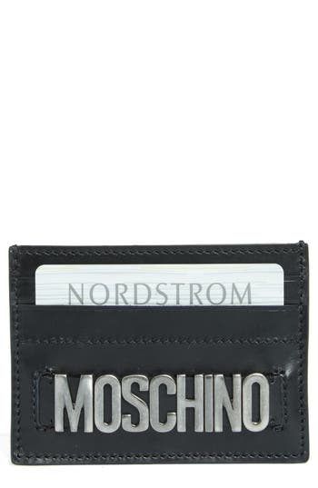 Women's Moschino Letters Card Case - Black