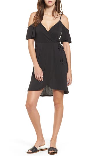 Women's Socialite Faux Wrap Cold Shoulder Dress, Size Medium - Black