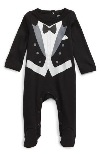 Infant Boy's Sara Kety Baby & Kids Tux Footie, Size 3M - Black