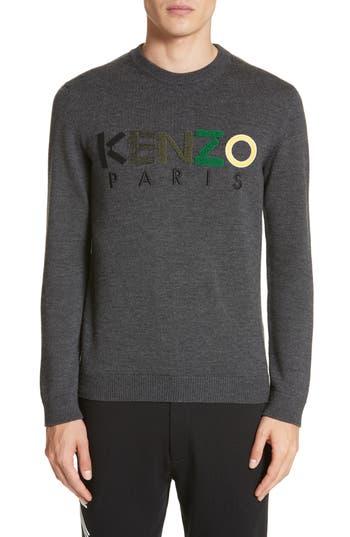 Kenzo Wool Logo Sweater, Grey