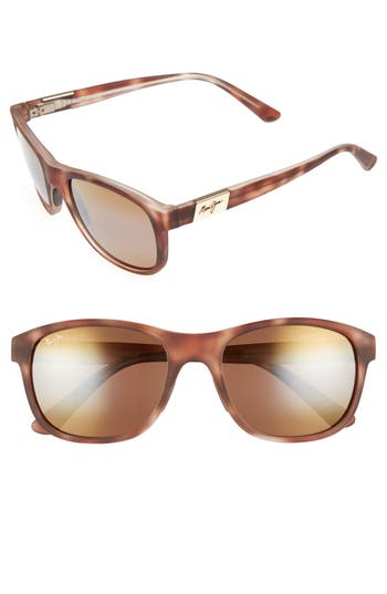Maui Jim Wakea 55Mm Polarized Sunglasses - Matte Tortoise/ Bronze