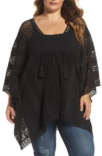 Plus Size Women's Xcvi Wearables Jace Embroidered Cotton Poncho, Size 1X - Black