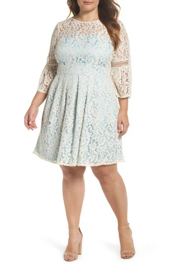 Plus Size Eliza J Bell Sleeve Fit & Flare Dress, Ivory