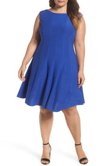 Plus Size Gabby Skye Sleeveless Pintuck Fit & Flare Dress, Blue