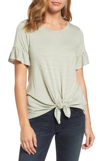 Women's Bobeau Bell Sleeve Tie Front Top, Size X-Small - Green