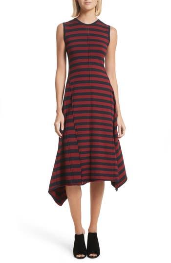 Grey Jason Wu Stripe Handkerchief Hem Dress, Blue