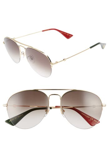 Men's Gucci Pilot 56Mm Aviator Sunglasses - Gold/ Brown