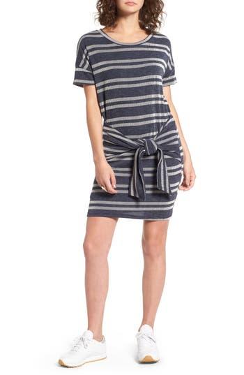 Lush Tie Front Stripe Knit Dress, Blue