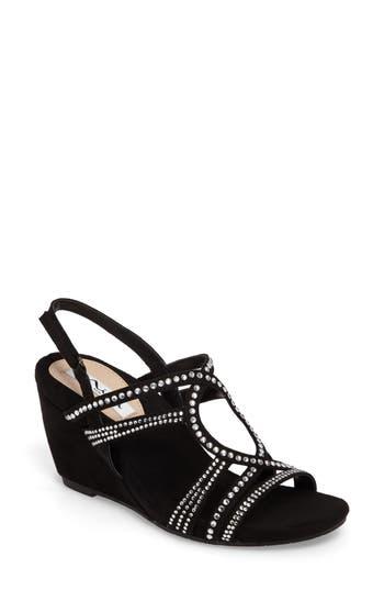 Nina Stasha Wedge Sandal- Black