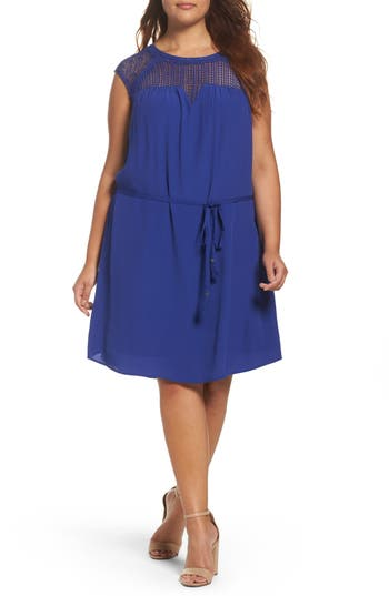 Plus Size Women's Daniel Rainn Lace Trim A-Line Dress