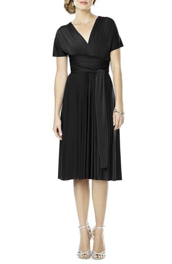 Plus Size Dessy Collection Convertible Wrap Tie Surplice Jersey Dress, Black