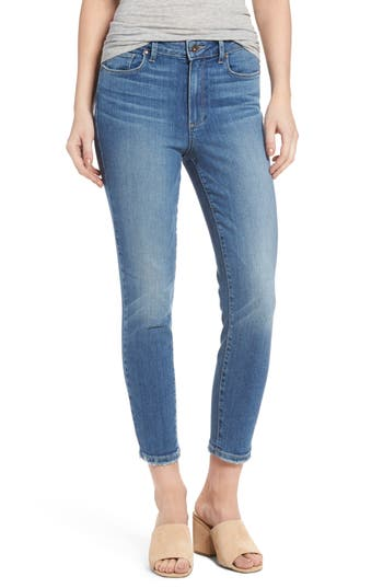 Paige Hoxton High Waist Crop Ultra Skinny Jeans, Blue