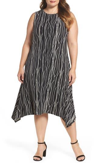 Plus Size Vince Camuto Electric Lines Shark Bite Hem Dress, Black