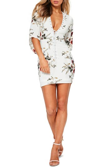 Missguided Lace-Up Body Con Dress, US / 6 UK - Ivory