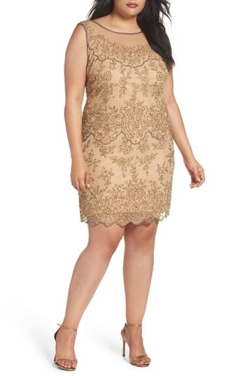 Plus Size Pisarro Nights Illusion Neck Beaded Cocktail Dress, Brown