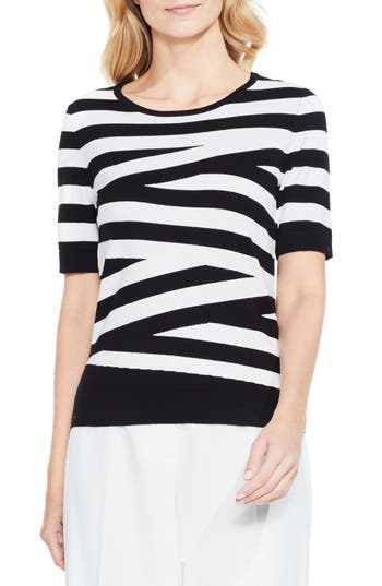 Women's Vince Camuto Stripe Cotton Blend Sweater, Size X-Small - Black