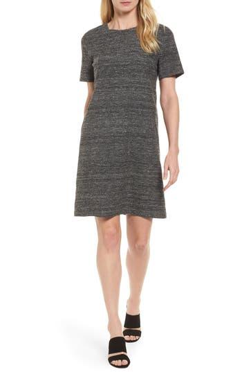Eileen Fisher Silk & Linen Shift Dress, Black