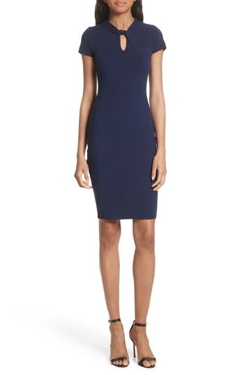 Milly Twist Neck Stretch Knit Sheath Dress, Blue