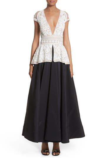 Naeem Khan 2-Piece Look Peplum Gown