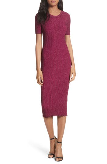 Milly Stardust Rib Knit Sheath Dress, Size Petite - Pink