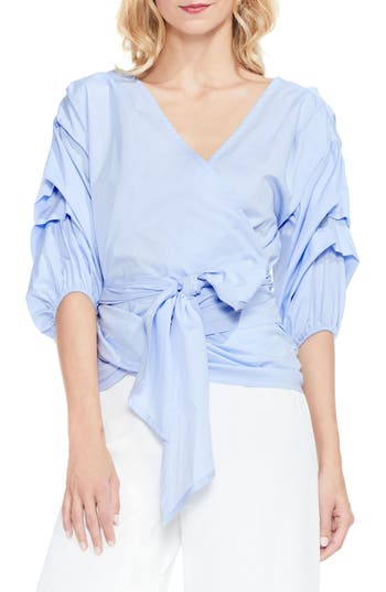 Women's Vince Camuto Bubble Sleeve Wrap Blouse, Size X-Small - Blue