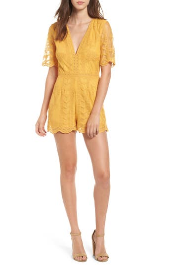 Women's Socialite Plunging Lace Romper, Size X-Small - Yellow