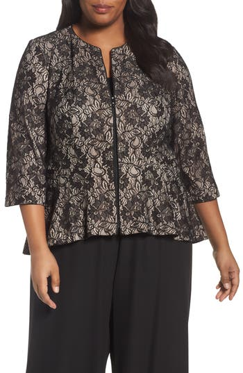 Plus Size Women's Alex Evenings Collarless Metallic Lace Jacket, Size 1X - Black