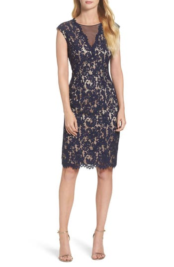 Vince Camuto Illusion Lace Sheath Dress, Blue