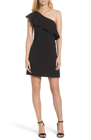French Connection Ruffle One-Shoulder Dress, Black