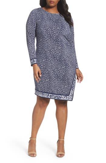 Plus Size Women's Michael Michael Kors Animal Print Faux Wrap Dress, Size 1X - Blue