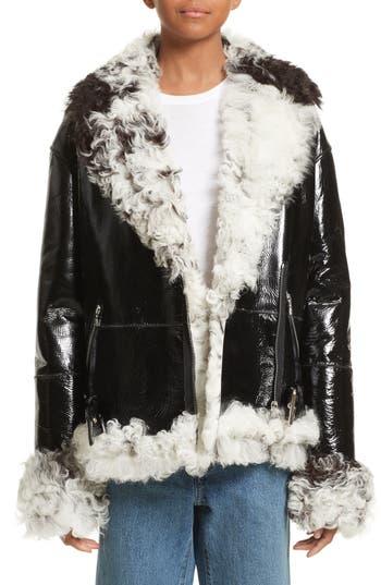 Sandy Liang Bowery Genuine Shearling Moto Jacket, 6 FR - Black