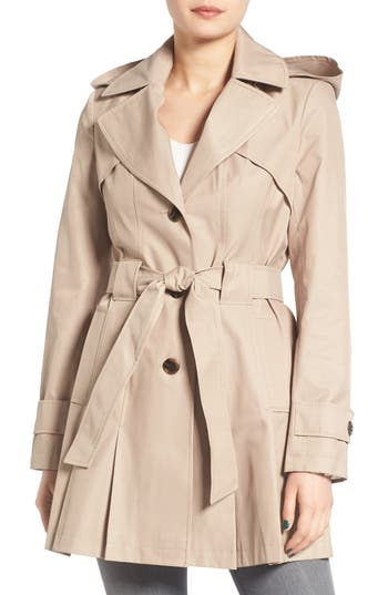 Petite Women's Via Spiga 'Scarpa' Hooded Single Breasted Trench Coat