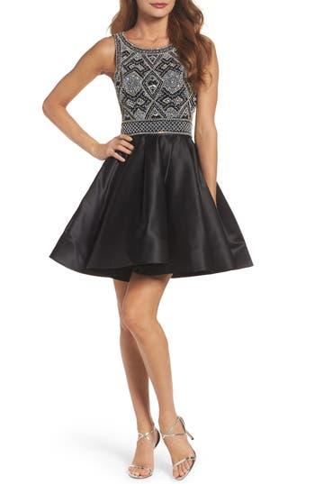 MAC Duggal Open Back Beaded Dress, Black