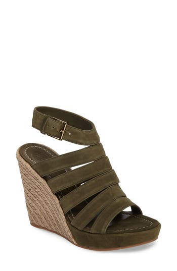 Women's Tory Burch Bailey Wedge Sandal, Size 5.5 M - Green