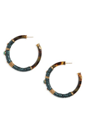 Women's Gas Bijoux Porto Genuine Snakeskin Hoop Earrings
