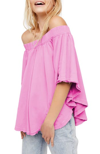 Free People New Kiss Me Off The Shoulder Tee, Pink