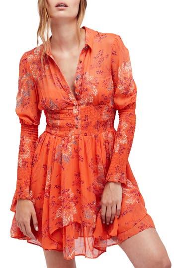 Free People Fake Pretend Babydoll Dress, Orange