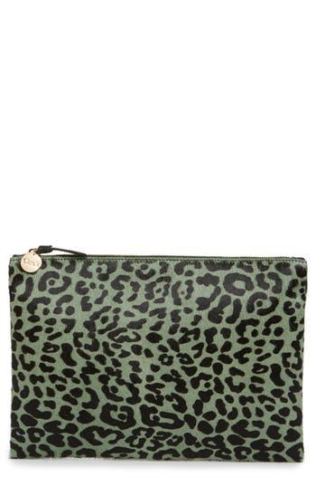 Clare V. Leopard Genuine Calf Hair Clutch - Green