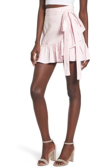 Arrive Vienna Ruffle Wrap Skirt, Pink