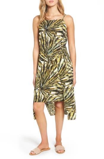 Love, Fire Palm Print Apron Dress, Green