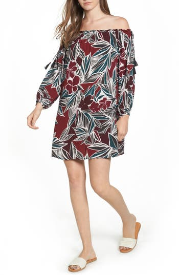 Lush Print Off The Shoulder Dress, Red