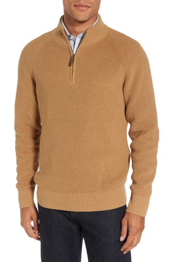 Big & Tall Nordstrom Shop Ribbed Quarter Zip Sweater, Beige