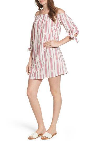 Everyly Tie Sleeve Off The Shoulder Shift Dress, Pink