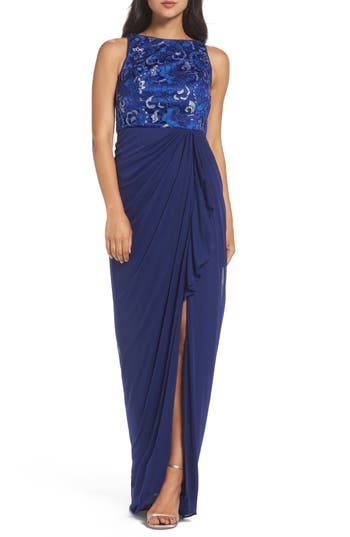 Adrianna Papell Sequin Lace Gown, Blue