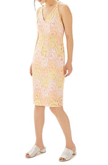 Topshop Floral Lace Sheath Dress, US (fits like 0) - Pink