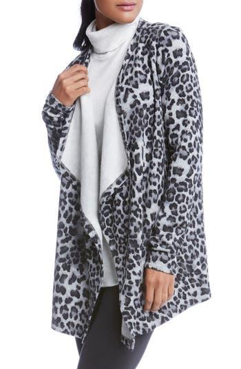 Women's Karen Kane Leopard Print Fleece Cardigan