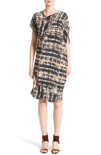 Zero + Maria Cornejo Painters Stripe Crepe De Chine Dress, Brown