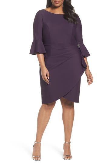 Plus Size Alex Evenings Bell Sleeve Sheath Dress, Purple