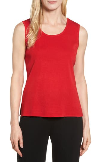 Ming Wang Scoop Neck Knit Tank, Red