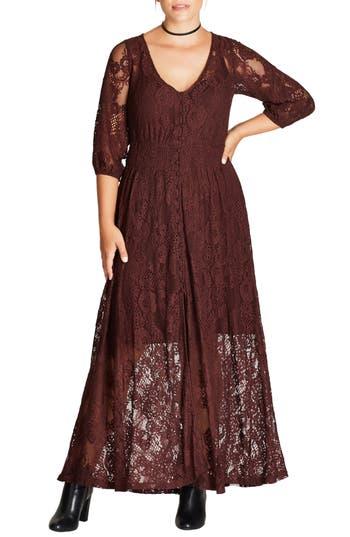 Plus Size City Chic Divine Creation Lace Maxi Dress, Black